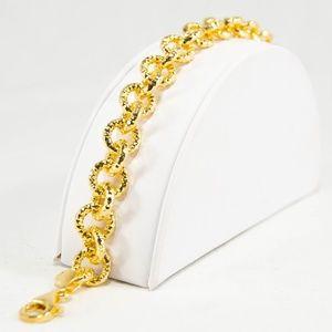 Jewelry - 90's Italian Hammered Link Bracelet Gold Overlay